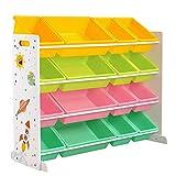 SONGMICSSpielzeugregal,Spielzeug-Organizer,Kinderzimmerregal mit16 abnehmbaren PP-Kunststoffboxen,für Kinderzimmer,Spielzimmer, Schule, orange, gelb, blau und grünGKR070W01