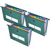 Blue Power Aktenordner mit 21 Fächern, für Aktenschrank, Akkordeon-Dokumente, erweiterbare Ordner, farbige Etiketten (Grün, 3 Stück)