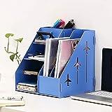 XWYSSH Veranstalter Aktenschrank aus Holz Einzeldokumentenhalter Büroregal Büro Aufbewahrung Box Office Bücherregal (Farbe : Blau)