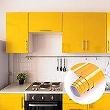 Küchenschränke Aufkleber Klebefolie aus PVC 61x500cm Tapete selbstklebende Folie Möbelfolie Küchenfolie mit Glitzer rückstandslos und kein Geruch Küchenfolie für Möbel Küche Tür (Gelb)