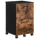 HOOBRO Rollcontainer mit 2 Schubladen, mobiler Aktenschrank mit Rädern, Büroschrank mit hängenden Aktenfächern, für Dokumente in DIN A4 und Letter-Format, Industrie-Design, Vintage EBF03WJ01G1