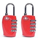 Ogquaton Portable und Praktische 4 Digitale Kombination Mechanische Schlösser Sicherheit Passwortsperre Geeignet für Gymnastik Turnsport Aktenschränke (2 Stücke, Rot)