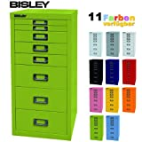 BISLEY Schubladenschrank 29 aus Metall mit 8 Schubladen   Schrank für Büro, Werkstatt und Zuhause   Stahlschrank in 11 Farben (Grün)