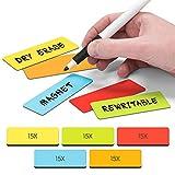 2DOBOARD Magnetstreifen Beschreibbar - 7,5 cm x 2,5 cm Bunt - 75 Stück - Magnetschilder zum Beschriften für Whiteboard und Kühlschränke - Rot, Grün, Orange, Blau, Gelb