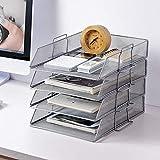 AFDK Desk File Organizer, 4er-Set Ablagefach-Organizer für Briefhalter, 3 Mesh-Einlegeböden, stapelbare ausziehbare Einlegeböden, Schwarzes Streichholzfach, Silber,Silber