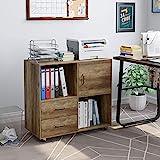 HOMECHO Büroschrank mobiler Aktenschrank Standschrank Druckerschrank Holz Rollcontainer mit 2 Schubladen Mehrzweckschrank Sideboard auf Rollen Industriedesign Vintage, Braun 75x39 x80cm