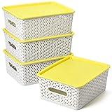 EZOWare 4er-Set Aufbewahrungsboxen/Kisten mit Deckel/Stapelboxen Kunststoff - 30 x 23.5 x 12cm, Hellgrau und Gelb