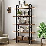 YOLEO Holz Bücherregal mit 5 Etagen, 120 x 30 x 178 cm offenes Bücherregal stabile Industrie Aufbewahrungsregal mit Metallrahmen für Aufbewahrung und Präsentation (Walnussbraun)