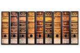 codiarts. 9 Stück breite Ordner-Etiketten - Alte Bücher Lederbände Vintage - selbstklebend (Ordnerrücken Aufkleber Sticker DIN A4)