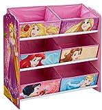 Worlds Apart Disney Prinzessin - Regal zur Spielzeugaufbewahrung mit sechs Kisten für Kinder, Holz, pink, 30 x 64 x 60 cm