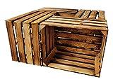 4er Set Holzkisten in verschiedenen Variationen - Ideal als Couchtisch, zur Aufbewahrung oder einfach tolle Dekoration (Neu Geflammt)