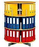 Ordner-Drehsäule mit 3 Etagen, Buche, Höhe 1230 mm, Ø 810 mm, für 60 breite DIN-Ordner, komplett drehbar