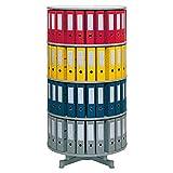 Ordner-Drehsäule mit 4 Etagen, einzeln drehbar, für bis 80 breite DIN-Ordner, Böden hellgrau, Höhe 1560 mm, Ø 810 mm