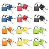 12 kleine Vorhängeschlösser mit 24 Schlüsseln, mehrfarbig, Gepäckschlösser, stabiles Messing, für Outdoor, Reise, Koffer, Gepäck, Rucksäcke, Schule, Fitnessstudio, Aktenschränke, Werkzeugkasten