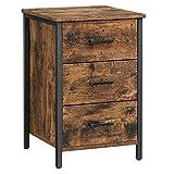 VASAGLE Nachttisch mit 3 Schubladen, Nachtkommode, Beistelltisch, Schlafzimmer, Wohnzimmer, 40 x 40 x 60 cm, Industrie-Design, vintagebraun-schwarz LET509B01