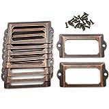 OZXNO Antiker Metall-Rahmen, 10er Pack Vintage Rot Bronze Etikettenhalter Etikettenhalter für Schublade, Aktenschränke, Regale (70 x 33 mm)