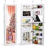 Twing Schmuck Schrank Wand Tür montiert abschließbar Jewelry Kleiderschrank Organizer mit zu Spiegel weiß