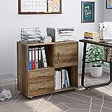 Aktenschrank mobiler Büroschrank mit Rädern Druckerschrank mit Schubladen und offenen Fächern Sideboard Mehrzweckschrank Braun 75x39 x80cm