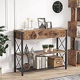 Tribesigns Schublade Konsolentisch Dielentisch mit Ablagefächern, schmaler Konsole Beistelltisch für Wohnzimmer, Flur, Schlafzimmer