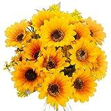 Huryfox Künstliche Sonnenblumen, 78 Stück, künstliche Sonnenblumen, Kunstseide, Partydekorationen, Heimdekoration, Pflanzen für Hochzeitsdekoration, Regal, Schreibtisch, Büro, Schlafzimmer (gelb)