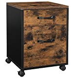 VASAGLE Rollcontainer, Aktenschrank, Büroschrank mit 2 Schubladen, Rollen, für Dokumente in DIN A4 und Letter-Format, mit Hängeregistratur, Industrie-Design, vintagebraun-schwarz OFC042B01