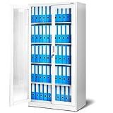 Jan Nowak by Domator24 Aktenschrank C012 Medizinschrank Büroschrank Flügeltürschrank Glasvitrine 4 Fachböden Stahl Abschließbar (weiß/weiß)