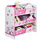 Blumen und Vögel - Regal zur Spielzeugaufbewahrung mit sechs Kisten für Kinder