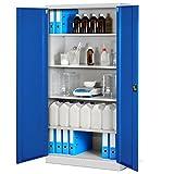Jan Nowak by Domator24 Aktenschrank XL C001H Büroschrank Metallschrank Werkzeugschrank Stahlblech Pulverbeschichtet Flügeltüren Abschließbar 195 cm x 90 cm x 40 cm (grau/blau), Metall
